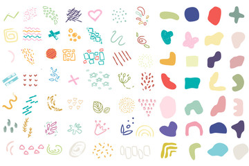 Abstract modern and stylish digital shapes and elements on the white isolated background. Creative colorful forms.