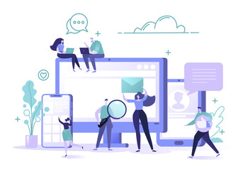 Social media networks concept. Man and woman characters chatting and blogging using mobile devices. Global internet community. Flat design and cartoon style vector Illustration.