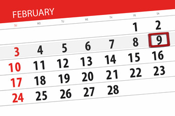 Calendar planner for the month february 2019, deadline day, 9, saturday