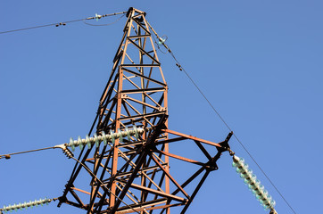 Part of utility pole (power tower) with steel frame and different