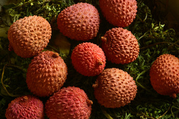 pile of lychees fruits taken from above