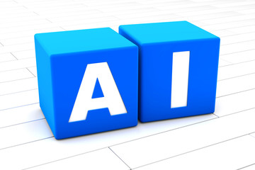3D rendered illustration of the word AI standing for Artificial Intelligence made of cubes.