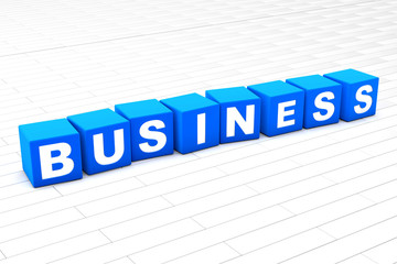 3D rendered illustration of the word Business made of cubes.