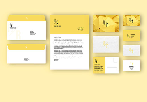 Business Stationary Set with Yellow Accents