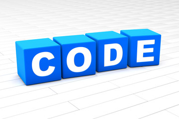 3D rendered illustration of the word Code made of cubes.