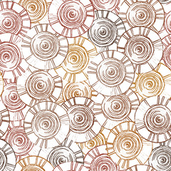 Circular, tribal pattern with motifs of African tribes Surma and Mursi
