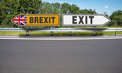 Road signs EXIT from BREXIT