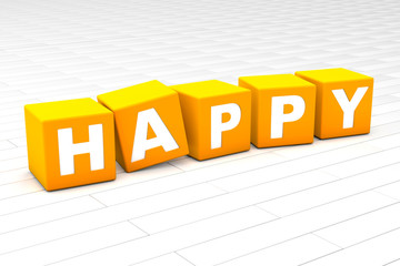 3D rendered illustration of the word Happy.