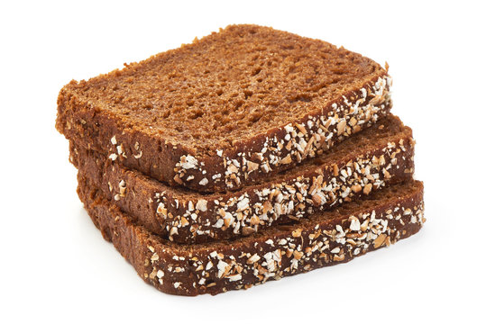 Fresh Rustic Wholemeal Rye Bread, closeup, isolated on a white background