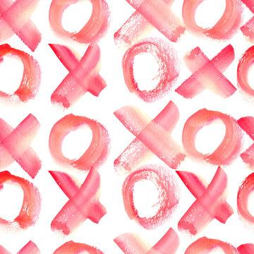 Watercolor seamless pattern xoxo
