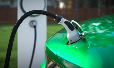 Charging your EV at home with a charging plug close up 3d illustration