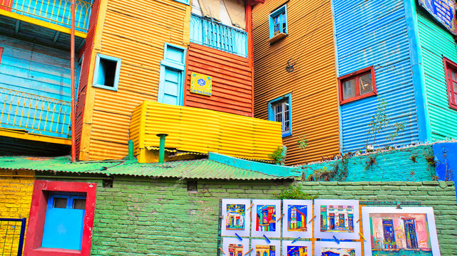 Landmark colorful El Caminito quarter in La Boca district of Buenos Aires, Argentina