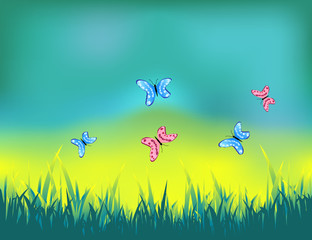 Summer sunny day landscape with butterflies in the grass.Life of insects in the meadow.