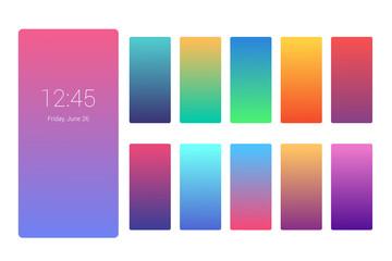 Vivid color background design on smartphone screen. Gradient set for flyer, invitation, poster, banner or calendar