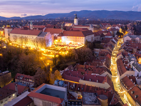 Zagreb at the advent market in winter