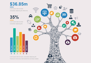 Social Media Tree Infographic with Bar Graph