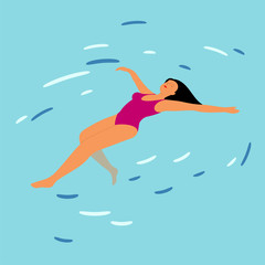 Young woman resting on swimming pool water background