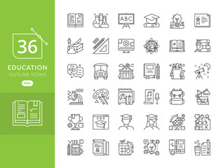 Set vector line icons in flat design education and university. Education icon set, Education and science icon set. Sign and symbols flat design university