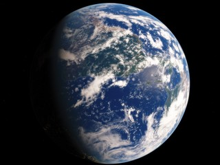 Near, low earth orbit blue planet. this image elements furnished by NASA