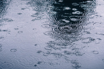 Rain drops rippling in a puddle on a dark, rainy day Fotobehang