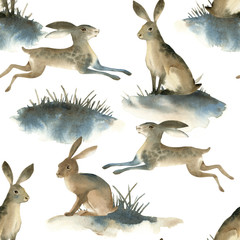 Watercolor illustartion of brown wild hare on white background. Seamles pattern about rabbit on the meadow