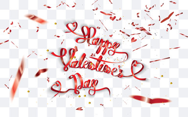 Happy Valentine's Day-text written with decorative paper and defocused heart shaped confetti around on transparent background