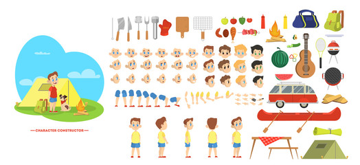 Boy character on barbeque set for animation