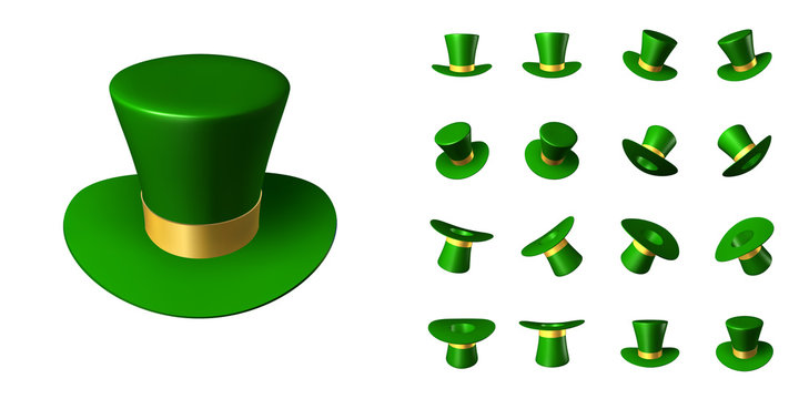 Set of St. Patrick's green hat with a gold ribbon in various positions in space