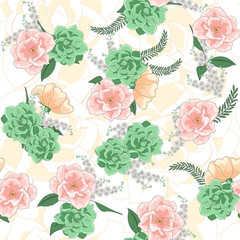 Seamless drawn flower pattern. Wild realistic floral print, hand drawn pattern for printing, seamless pattern with flowers. Seamless clipart for wallpapers, backgrounds. Vector illustration.