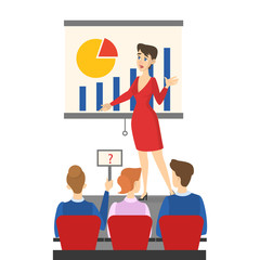 Businesswoman making presentation in front of group