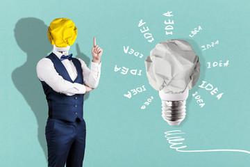 Wall Mural - crumpled paper light bulb, concept of a new idea