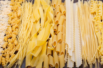 Different types of pasta, soup noodles and spaghetti. Food background.