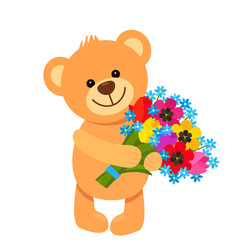 Funny character Teddy Teddy holds in his paws a bouquet of flowers from tulips. The concept of Valentine's Day, wedding, March 8, mother's day.
