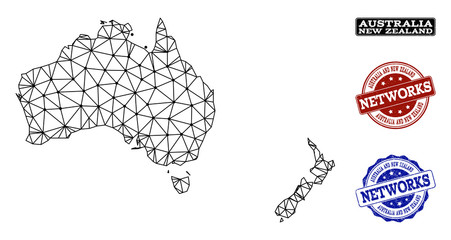 Black mesh vector map of Australia and New Zealand isolated on a white background and scratched watermarks for networks. Abstract lines, dots and triangles forms map of Australia and New Zealand.
