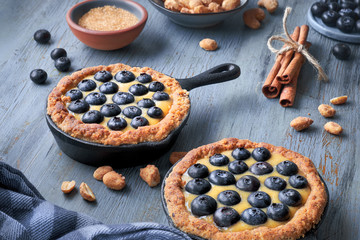 Delicious Blueberry tartlets with vanilla custard cream on light blue rustic background