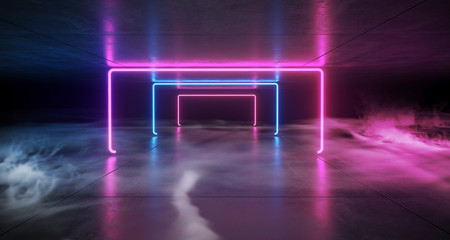 Realistic Sci Fi Elegant Neon Glowing Laser Purple Blue Lines Tunnel Corridor In Dark Reflective Grunge Concrete Room Empty Space Fog And Smoke 3D Rendering