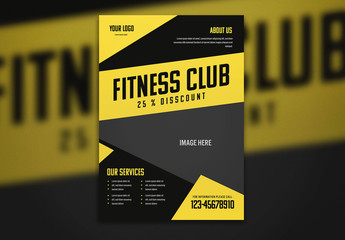 Fitness Flyer Layout with Yellow Accents