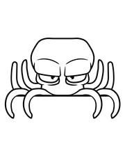 verstecken schild rand schreiben name text böser oktopus krake kopffüßer kalmar tentakel tintenfisch unterwasser monster comic cartoon clipart lustig design meer wasser tauchen fisch