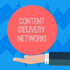 Text sign showing Content Delivery Network. Conceptual photo Geographically dispersed network of proxy servers Hu analysis Hand in Suit Offering Blank Solid Color Circle for Logo Posters