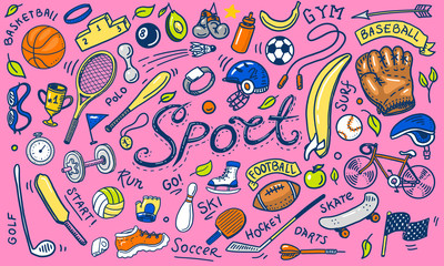 Set of sport icons doodle style. Equipment for fitness and training. Symbols of health and activity. Tennis and football, basketball. Games for the gym and physical education. Background for web site.
