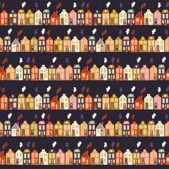 Cute colotful houses seamless pattern