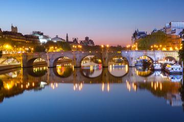 Night Ile de la Cite in Paris, France