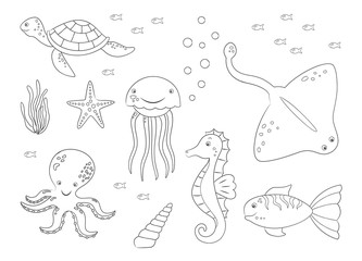 Coloring page of sea animals. Vector illustrations.