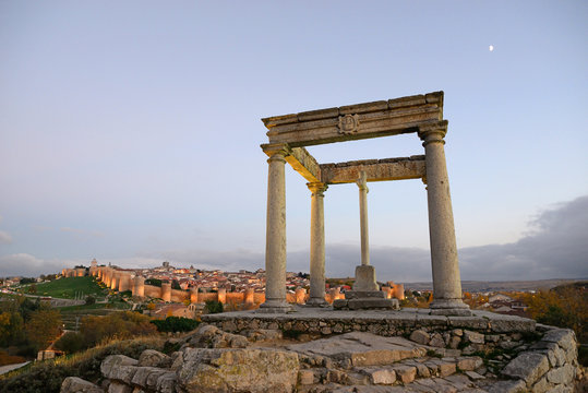 Avila, Spain - November 15, 2018: Viewpoint of the Four Posts in Avila.