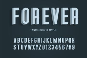 forever vintage handcrafted 3d alphabet. vector illustration