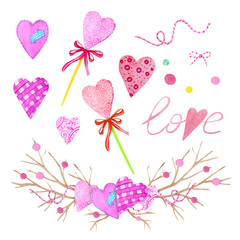 A large set of watercolor elements for Valentine's Day or wedding day. Flowers, arrow, envelope, balloon, heart, cup and other watercolor elements.
