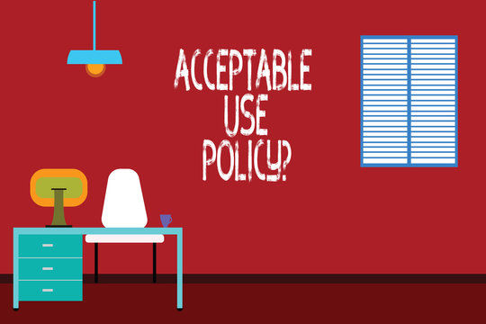 Text sign showing Acceptable Use Policyquestion. Conceptual photo set of rules applied by the owner of a network Work Space Minimalist Interior Computer and Study Area Inside a Room photo