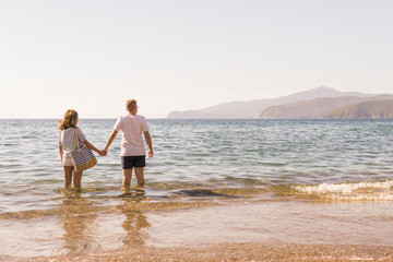 Rear view of young couple holding hands while standing in sea against clear sky