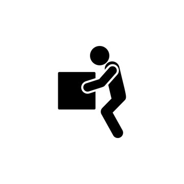 Lifting weights, box, man icon. Simple glyph vector of universal set icons for UI and UX, website or mobile application