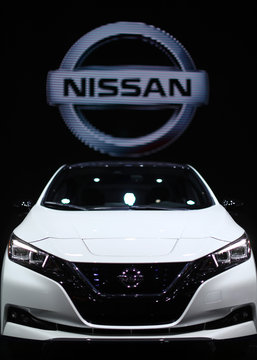 The Nissan logo is seen at the North American International Auto Show in Detroit, Michigan